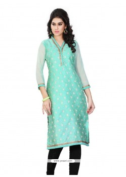 Intrinsic Jacquard Turquoise Lace Work Party Wear Kurti