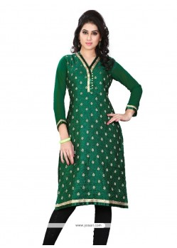 Riveting Green Lace Work Jacquard Party Wear Kurti