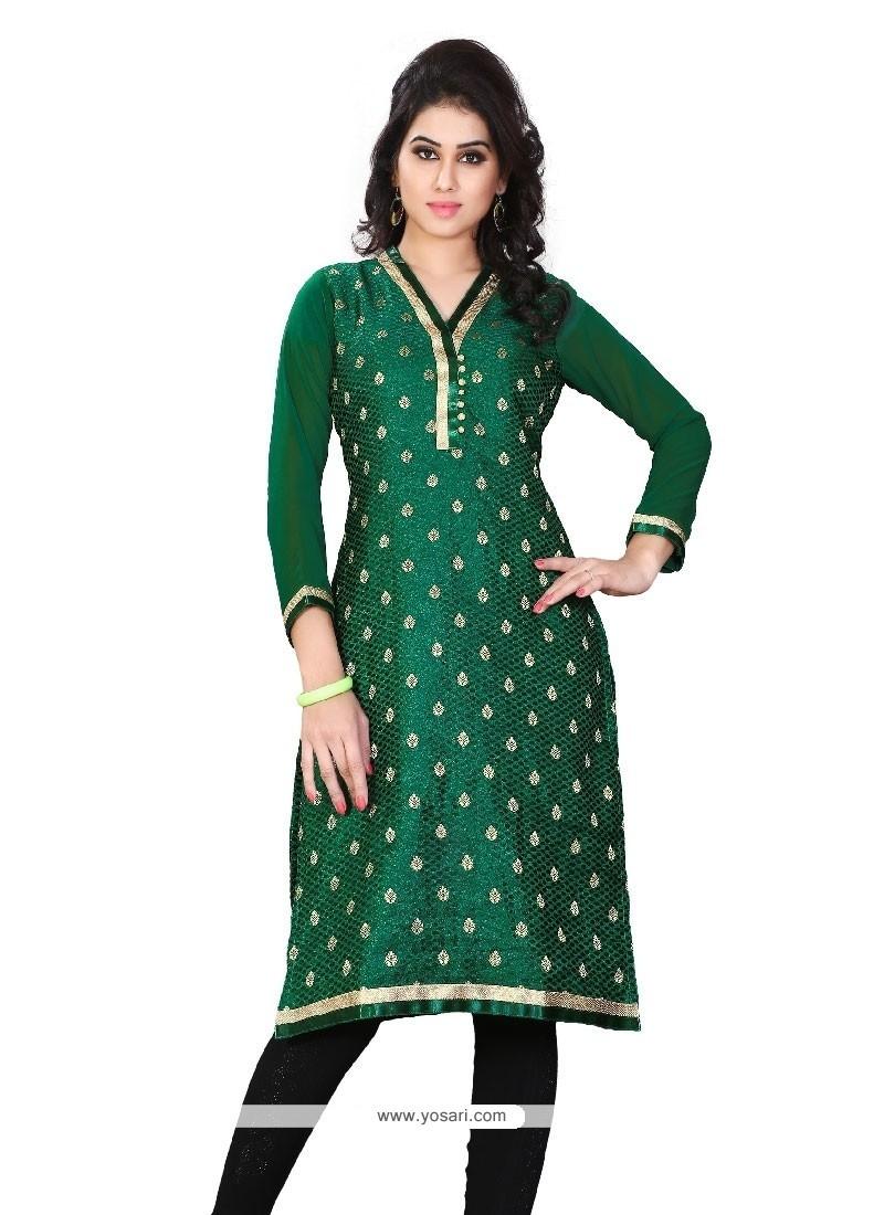 Riveting Green Lace Work Jacquard Party Wear Kurti