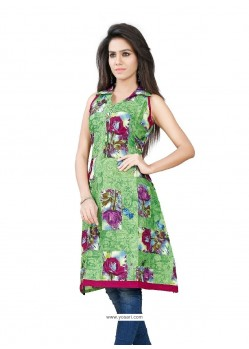 Charismatic Print Work Cotton Party Wear Kurti