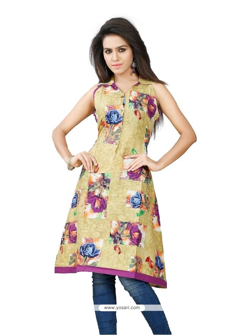 Mod Cotton Multi Colour Print Work Party Wear Kurti