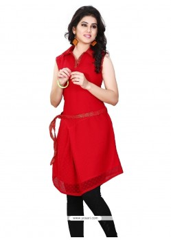 Thrilling Plain Work Casual Kurti