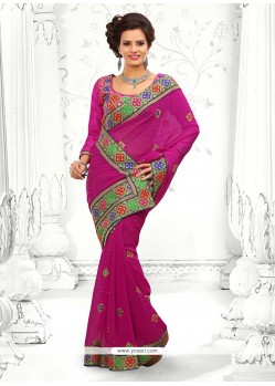 Radiant Pink Georgette Designer Saree