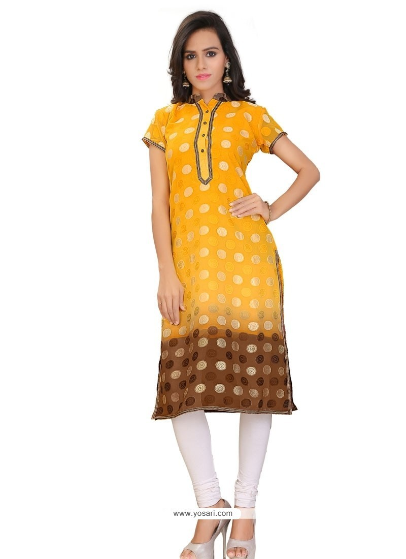 Mod Yellow Party Wear Kurti