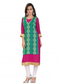Prodigious Lace Work Sea Green Party Wear Kurti