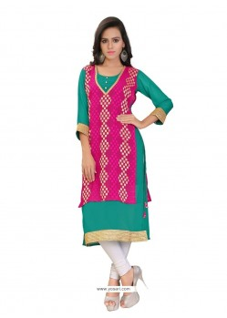 Ravishing Brasso Georgette Hot Pink Lace Work Party Wear Kurti