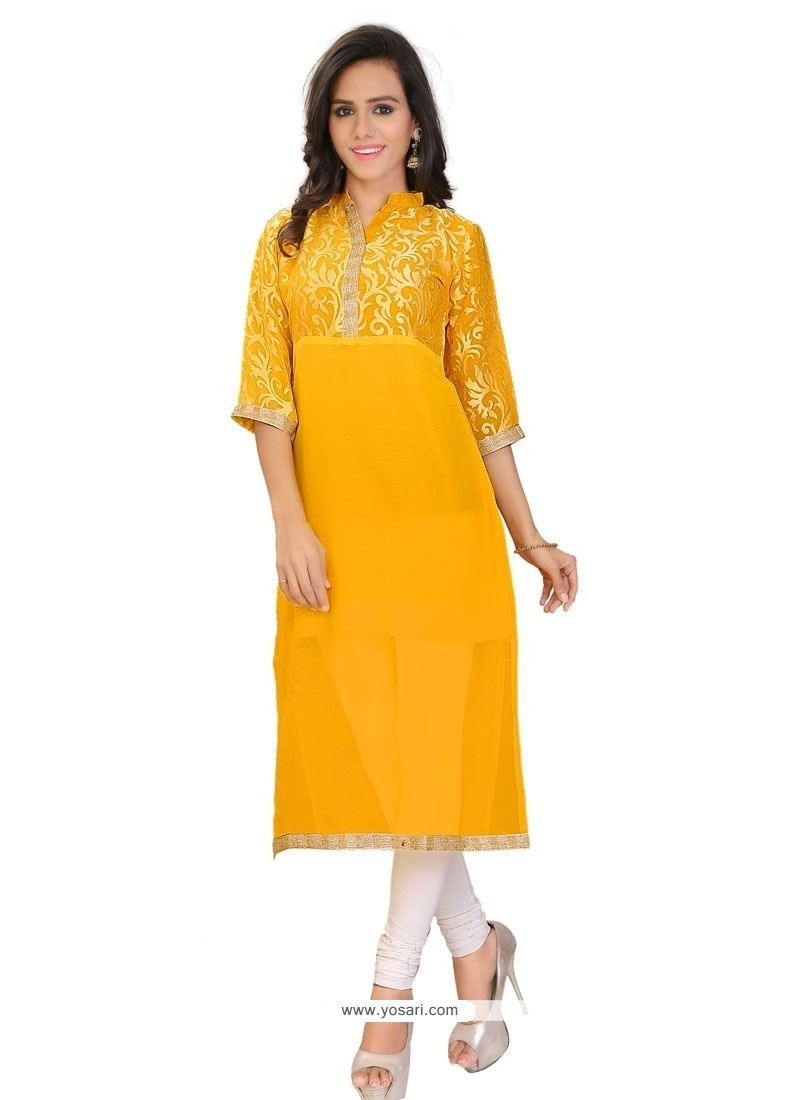 Aesthetic Lace Work Yellow Party Wear Kurti