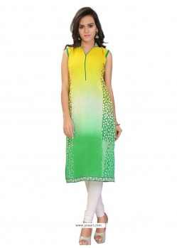 Charismatic Lace Work Brasso Georgette Multi Colour Party Wear Kurti
