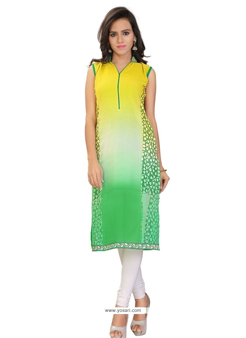 Charismatic Lace Work Brasso Georgette Multi Colour Party Wear Kurti