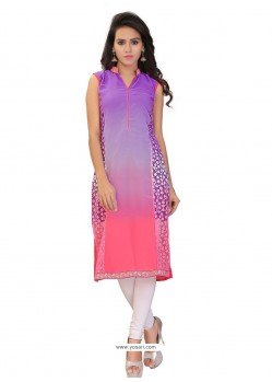 Classy Purple Lace Work Brasso Georgette Party Wear Kurti