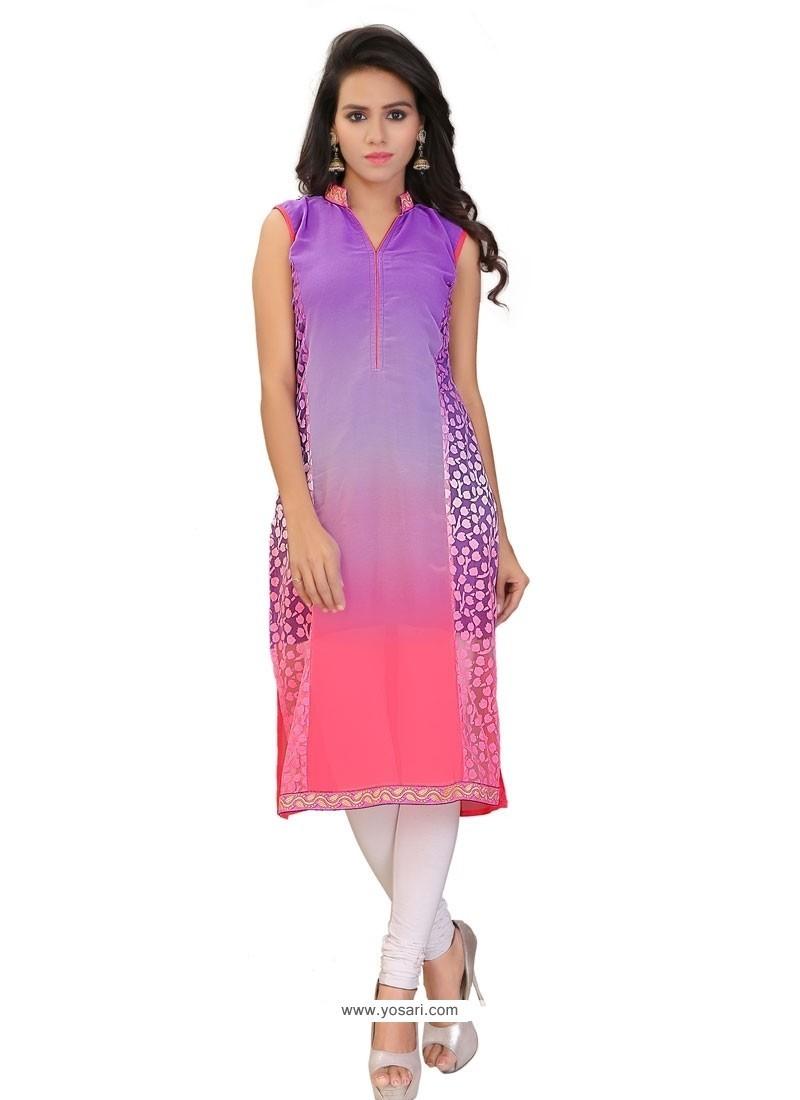 Classy Purple Lace Work Brasso Georgette Party Wear Kurti