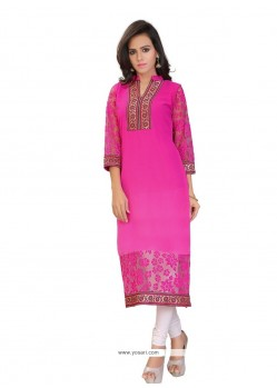 Hot Pink Brasso Georgette Party Wear Kurti