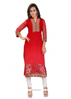 Snazzy Brasso Georgette Red Lace Work Party Wear Kurti