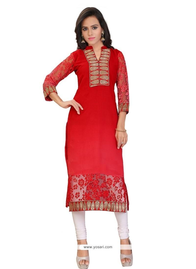 Snazzy Brasso Georgette Red Lace Work Party Wear Kurti