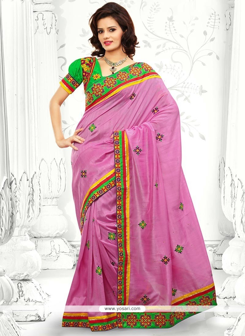 Perfect Pink Bhagalpuri Silk Saree