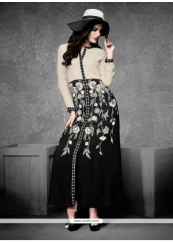 Lively Embroidered Work Black Georgette Designer Kurti