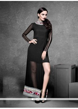 Topnotch Georgette Black Embroidered Work Designer Kurti
