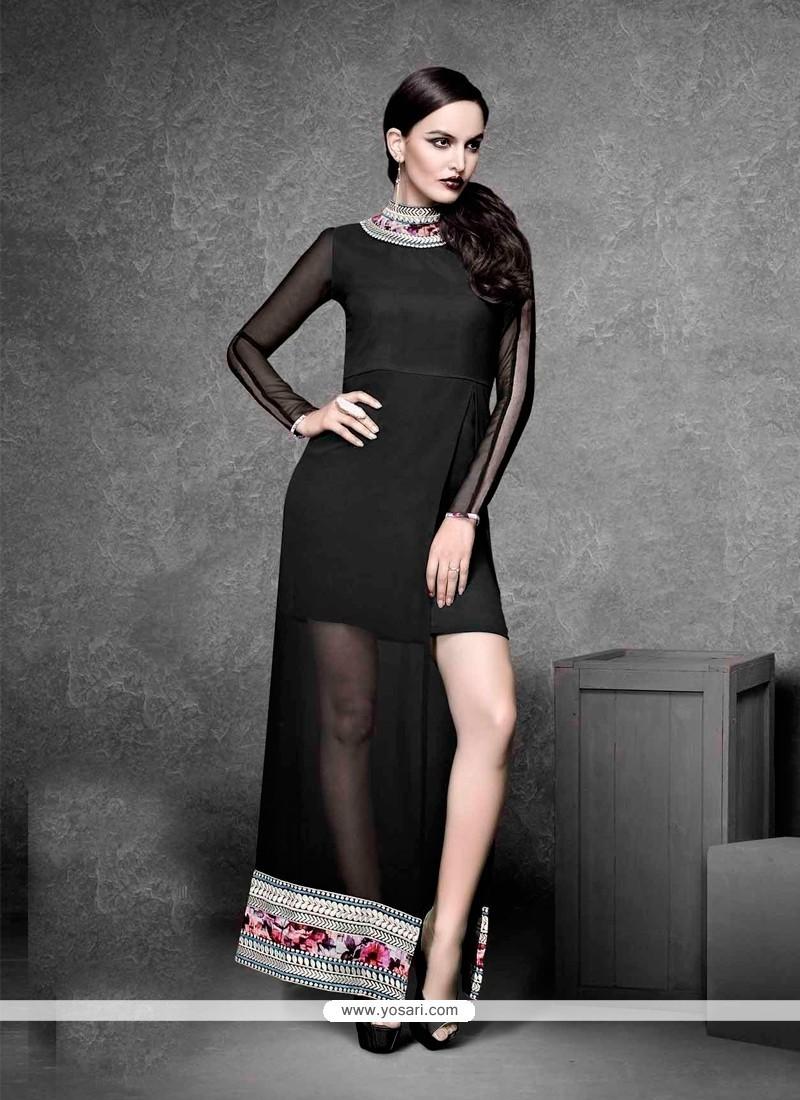 Topnotch Georgette Black Embroidered Work Designer Kurti