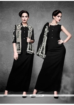 Outstanding Georgette Black Embroidered Work Designer Kurti