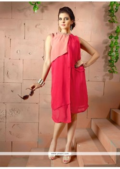 Fetching Georgette Pink Plain Work Party Wear Kurti