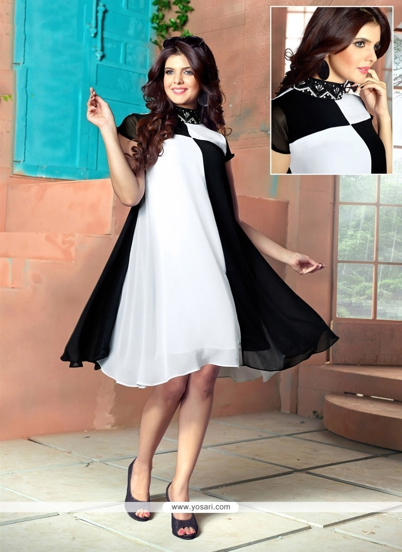 Pleasing Georgette Black And Off White Embroidered Work Party Wear Kurti