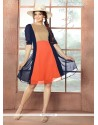 Demure Navy Blue And Orange Georgette Party Wear Kurti