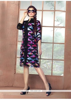 Sumptuous Satin Digital Print Work Party Wear Kurti