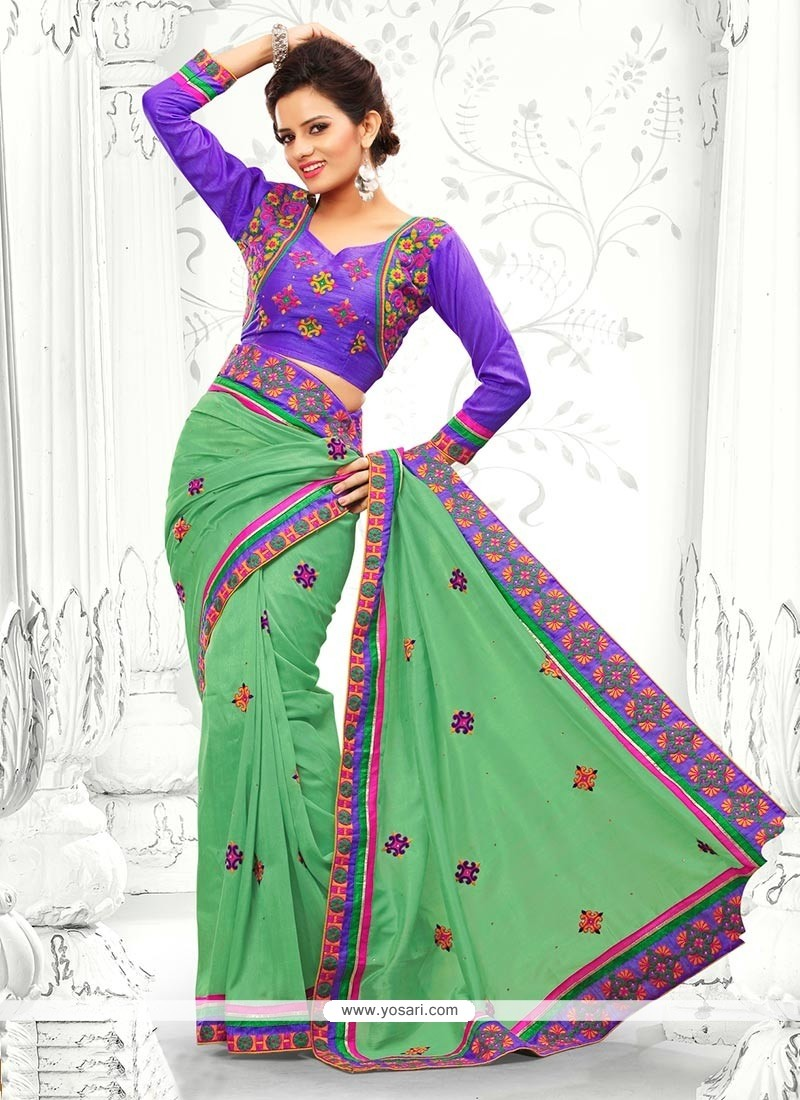 Modern Green Resham Work Designer Saree