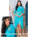 Distinctive Embroidered Work Turquoise Georgette Designer Kurti