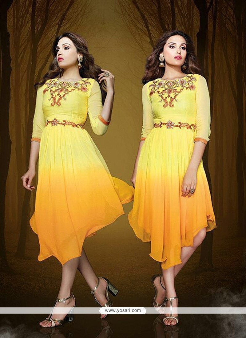 Excellent Embroidered Work Yellow Georgette Party Wear Kurti