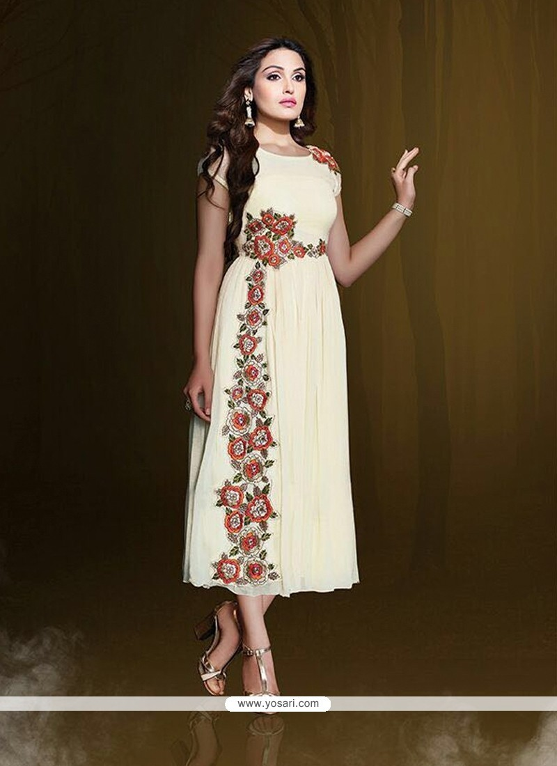 Unique Off White Resham Work Party Wear Kurti