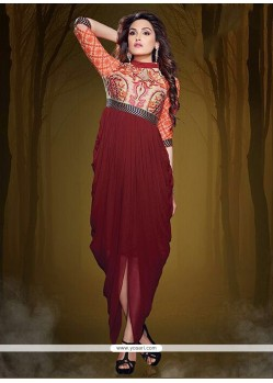 Unique Lace Work Maroon Party Wear Kurti