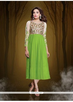 Glitzy Georgette Green Party Wear Kurti