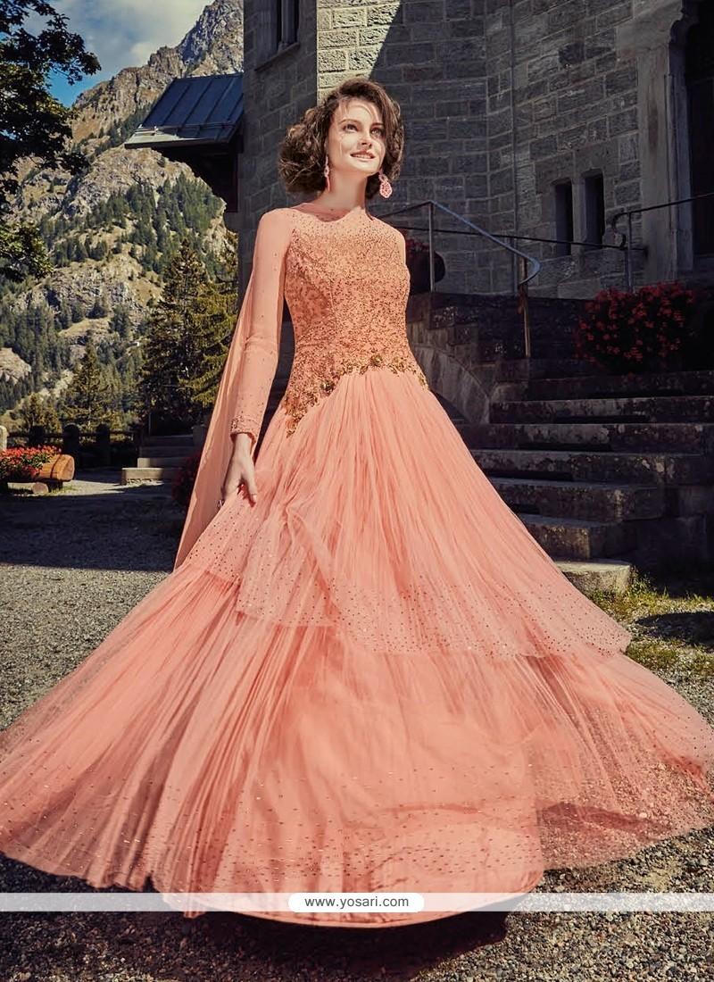 Compelling Orange Net Anarkali Salwar Kameez
