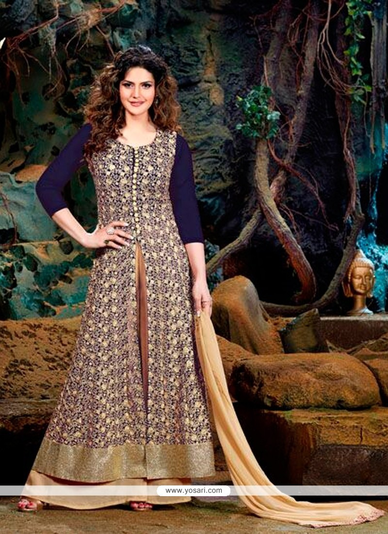 Incredible Embroidered Work Georgette Navy Blue Designer Suit