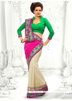 Pink And Off White Georgette Half And Half Saree