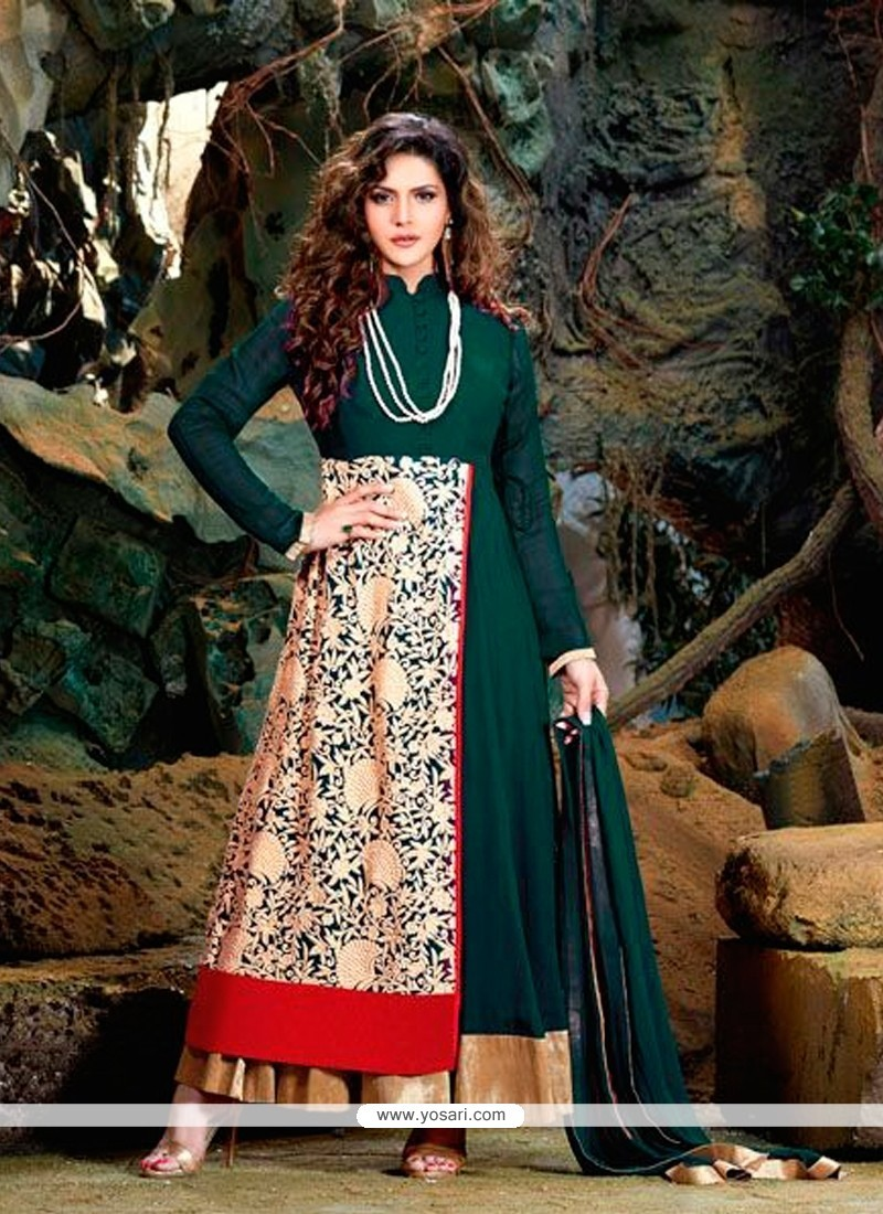 Eye-catchy Georgette Teal Embroidered Work Designer Suit