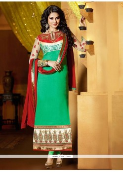 Jenifer Winget Green Color Georgette Churidar Suit
