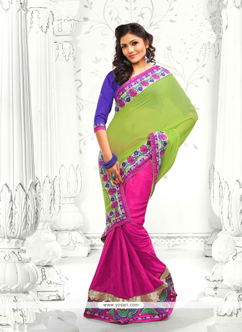 Pink And Green Faux Georgette Half And Half Saree