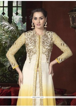 Cream And Yellow Georgette Designer Suit