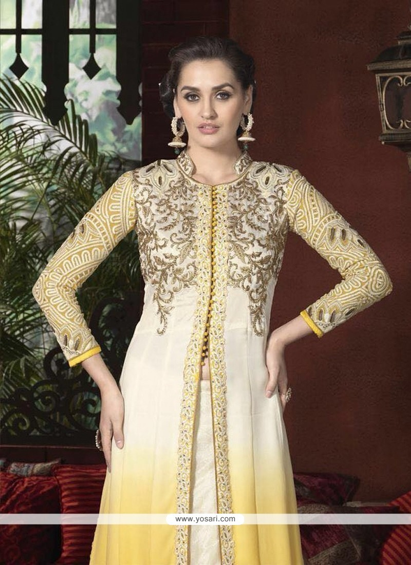 Cream And Yellow Georgette Designer Suit