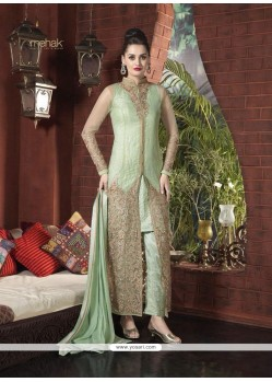 Glorious Sea Green Net Designer Suit