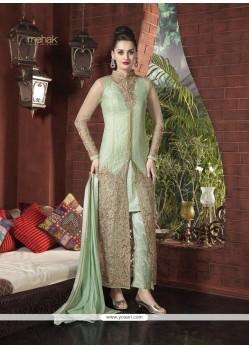 Glorious Sea Green Net Designer Suit