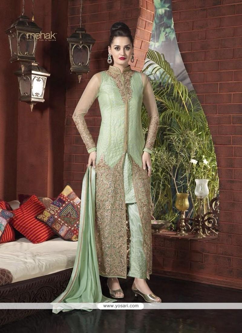 fd5f37ce81 Shop online Glorious Sea Green Net Designer Suit