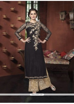 Voluptuous Patch Border Work Black Designer Suit