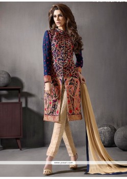 Magnetize Embroidered Work Navy Blue Churidar Designer Suit