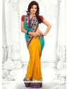 Turquoise And Yellow Georgette Half And Half Saree