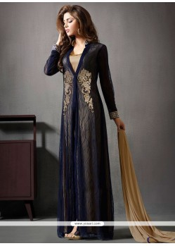 Scintillating Embroidered Work Navy Blue Net Anarkali Salwar Kameez