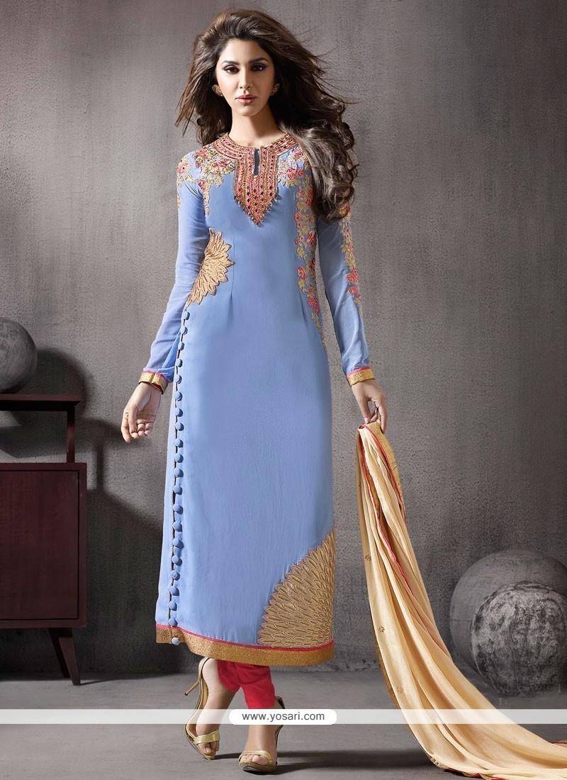 Enticing Georgette Blue Resham Work Churidar Designer Suit