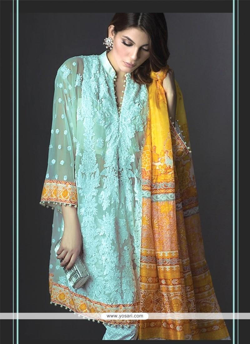 Intriguing Turquoise Designer Suit